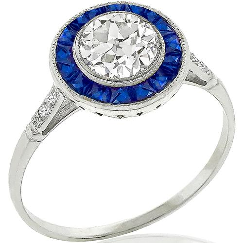 GIA 0.70ct Diamond Sapphire Gold Engagement Ring