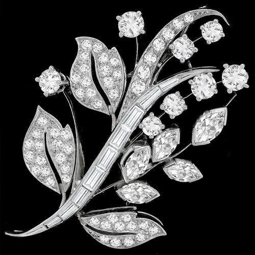 1950s 2.50ct Diamond Gold Floral Pin