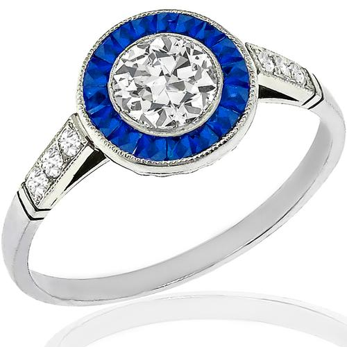 GIA 0.58ct Diamond Sapphire Engagement Ring