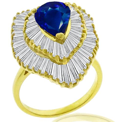 1.92ct Sapphire 2.30ct Diamond Gold Ring