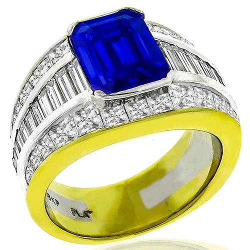 Estate 4.00ct Sapphire 3.00ct Diamond Ring
