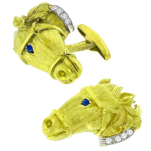 La Triomphe Diamond Lapis Gold Horse Cufflinks