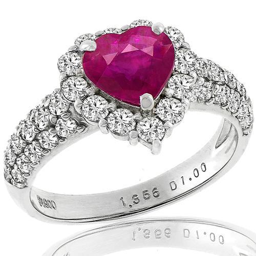 ffa7887f3b 1.36ct Burmese Ruby Diamond Platinum Ring | Israel Rose