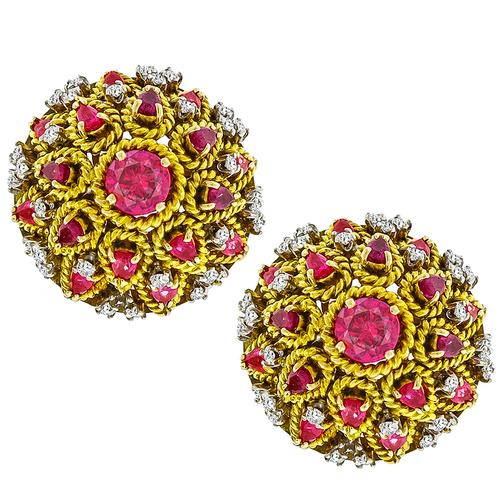 1.50ct 3.20ct Ruby 1.30ct Diamond Gold Earrings