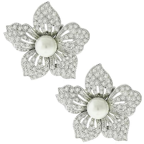 Pearl 2.09ct Diamond Gold Flower Earrings