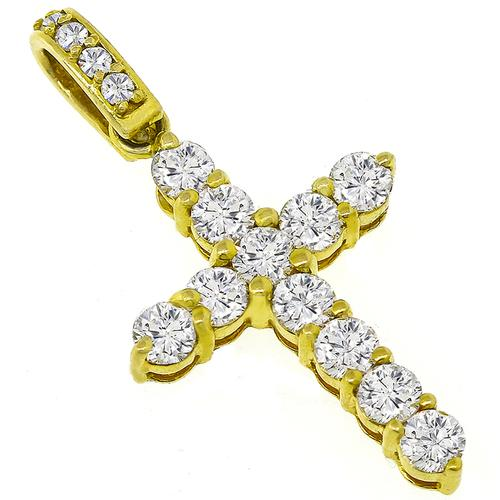 3.30ct Diamond Gold Cross Pendant