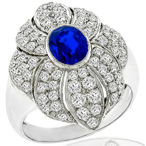 1.30ct Sapphire 1.00ct Diamond Gold Floral Ring