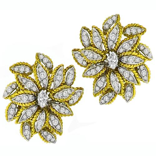 2.50ct Diamond Gold Floral Earrings