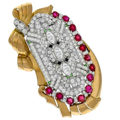 Antique Estate Diamond Ruby Onyx Emerald Gold Pin