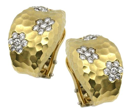 Roberto Coin 1 25ct Round Diamond Hammered 18k Yellow Gold Earrings