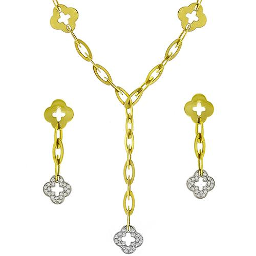 Roberto Coin 1.25ct Diamond Gold Necklace & Earrings Set