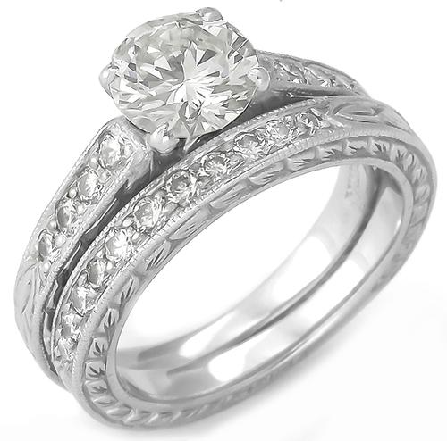 Scott Kay 0.91ct Round Brilliant Cut Diamond 0.50ct Round Cut Diamond Platinum Engagement Ring and Wedding Band Set