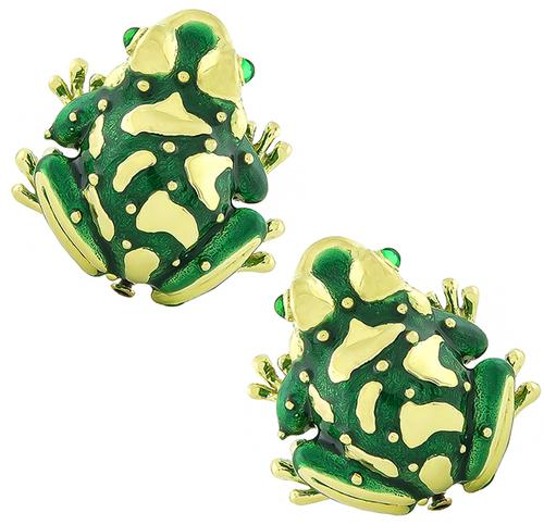 18k Yellow Gold Enamel Frog Pin