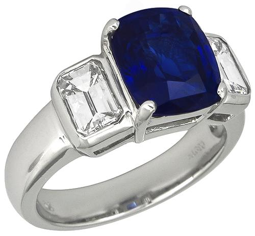 Cushion Cut Ceylon Sapphire Emerald Cut Diamond Platinum Engagement Ring
