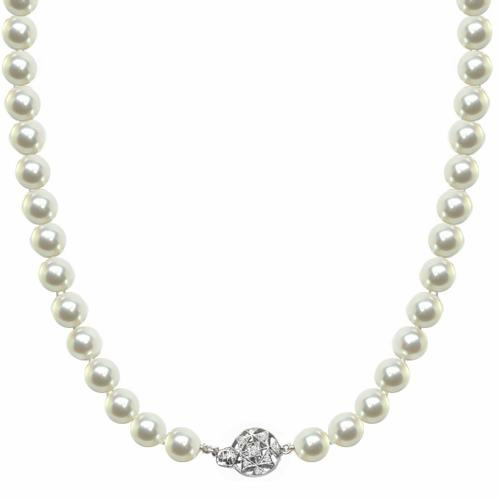 6mm Pearl 0.35ct Round Cut Diamond Clasp  Necklace