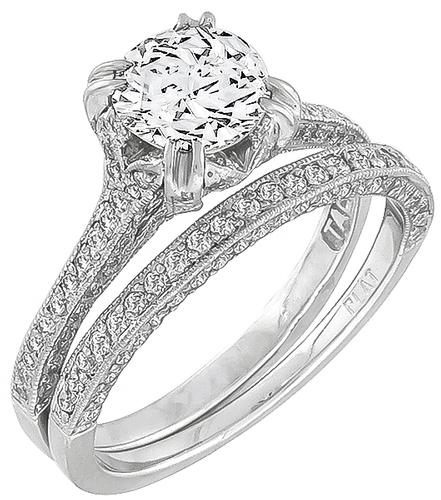 GIA Certified Round Brilliant Cut Diamond Platinum Engagement Ring and Wedding Band Set
