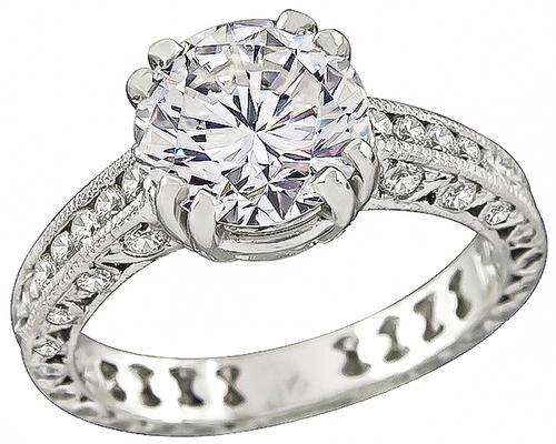 Round Brilliant Cut Diamond Platinum Engagement Ring and Wedding Band Set by Tacori