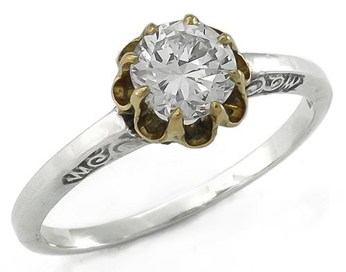GIA Certified Round Brilliant Cut Diamond 14k Yellow and White Gold Engagement Ring