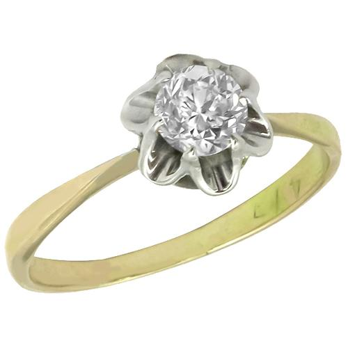 Antique  0.70ct Old Mine  Diamond  SIlver & 14k Yellow Gold Engagement Ring