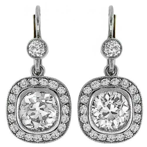 Antique 3.15ct Center 1.00ct Side Diamond  Gold  Earrings