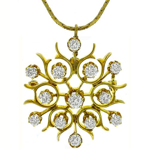 Diamond Gold Star Burst Pin/ Pendant