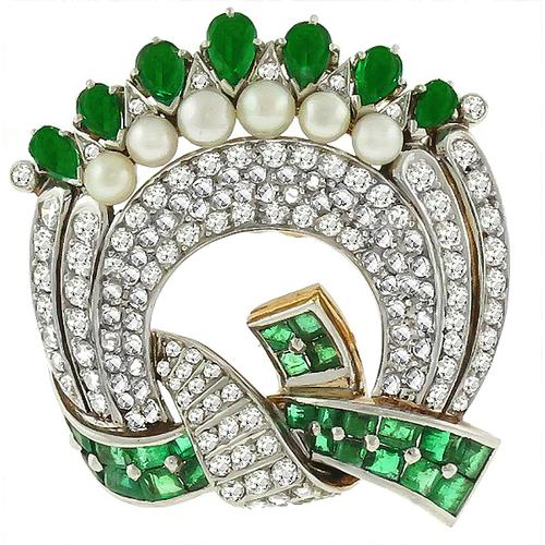 Antique 2.50ct Emerald 3.00ct Diamond Pearl  Pin
