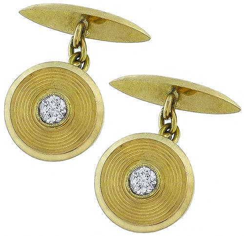 Antique Round Cut Diamond 18k Yellow Gold Cufflinks