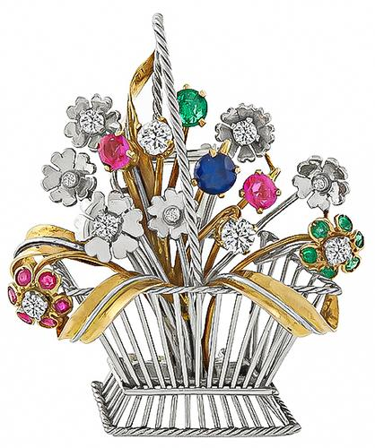 Edwardian Round Cut Diamond Round Cut Precious Stone Platinum and Gold basket of Flower Pin