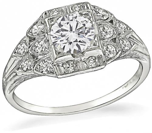 Art Deco Round Cut Diamond Platinum Engagement Ring