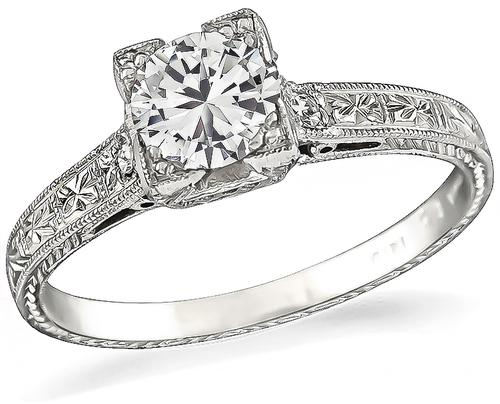 Edwardian Round Cut Diamond Platinum Engagement Ring