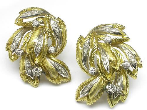 1960's Round Cut Diamond 18k Yellow Gold Earrings