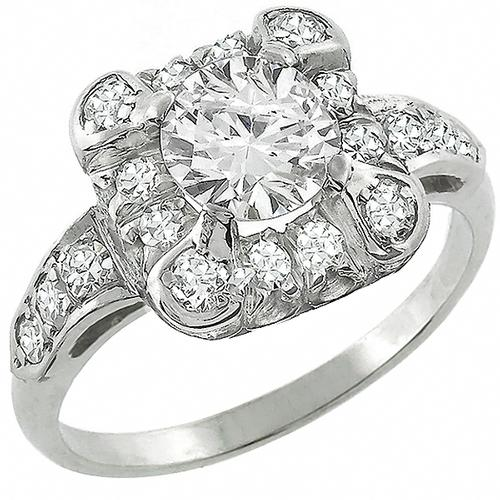 Estate 0.72ct Round Brilliant Center & 2.20ct Round Cut Diamond 14k White Gold Engagement & Wedding Band Set