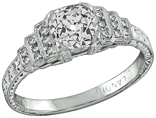 Art Deco Old Mine Cut Diamond Platinum Engagement Ring
