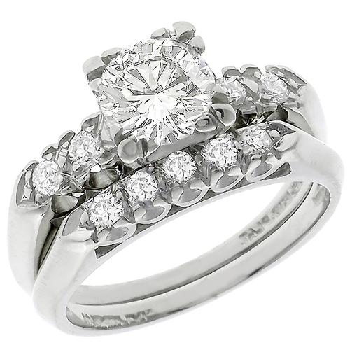 Estate 0.80ct Round Brilliant  Diamond Platinum Engagement and Wedding Band Set