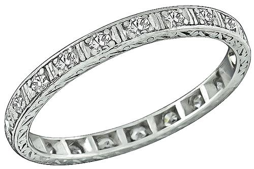Edwardian Round CUt Diamond Platinum Eternity Wedding Band