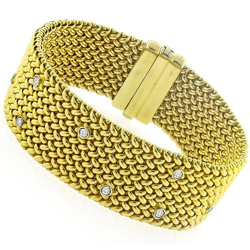 Diamond Gold Weave Bracelet