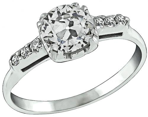 1920s Old Mine Cut Diamond 14k White Gold Engagement Ring