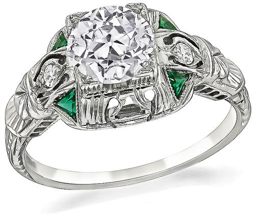 Art Deco Old Mine Cut Diamond Emerald 18k White Gold Engagement Ring