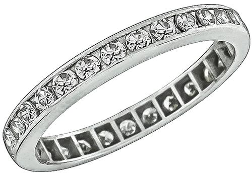 1950s Round Cut Diamond Platinum Eternity Wedding Band