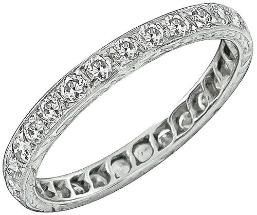 Art Deco Old Mine Cut Diamond Platinum Wedding Band