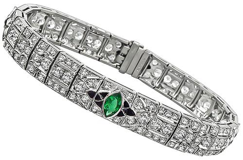 Art Deco Old Mine Cut Diamond Marquise Cut Emerald Onyx Platinum Bracelet