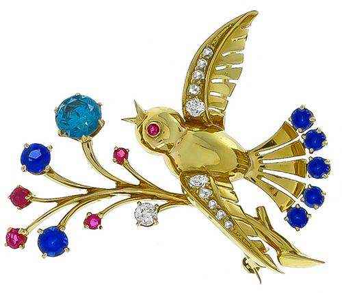 1940s Round Cut Blue Diamond 14k Yellow Gold Bird Pin