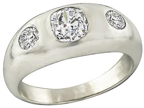 1910s Cushion Cut Diamond 14k White Gold Men's Ring