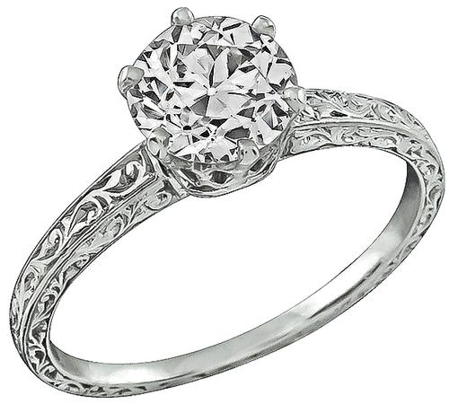 1930s Old Mine Cut Diamond Platinum Engagement Ring