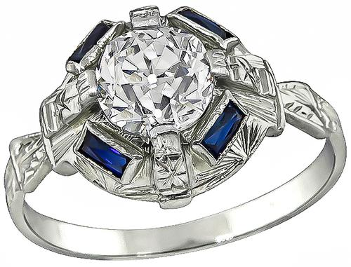 Art Deco Old Mine Cut Diamond 18k White Gold Engagement Ring