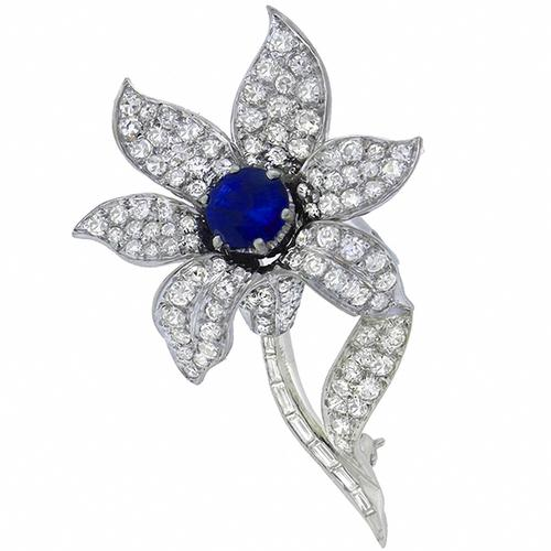 1950s 1.20ct  Round Cut  Ceylon  Sapphire 2.50ct Round & Baguette Cut  Diamond 14k White Gold Floral Pin