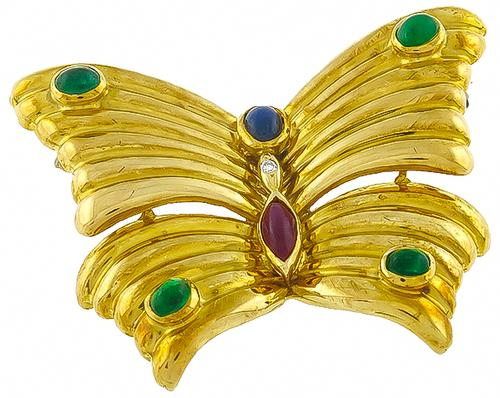 1960s Cabochon Precious Stone 18k Yellow Gold Butterfly Pin