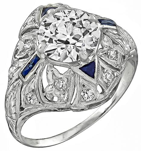 Art Deco Old Mine Cut Diamond Sapphire Platinum Engagement Ring