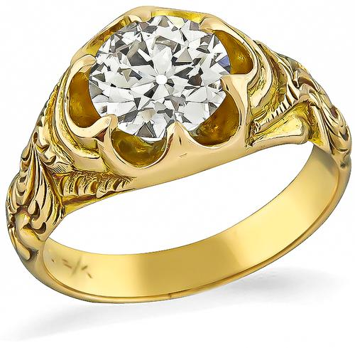Victorian Old Mine Cut Diamond 14k Gold Ring
