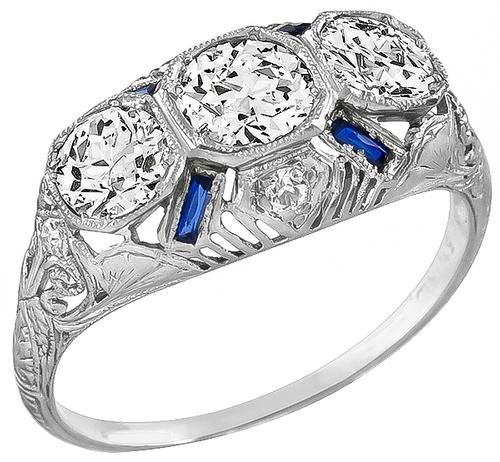Art Deco Vintage 1.65ct Round and Old Mine Cut Diamond Sapphire Platinum Ring
